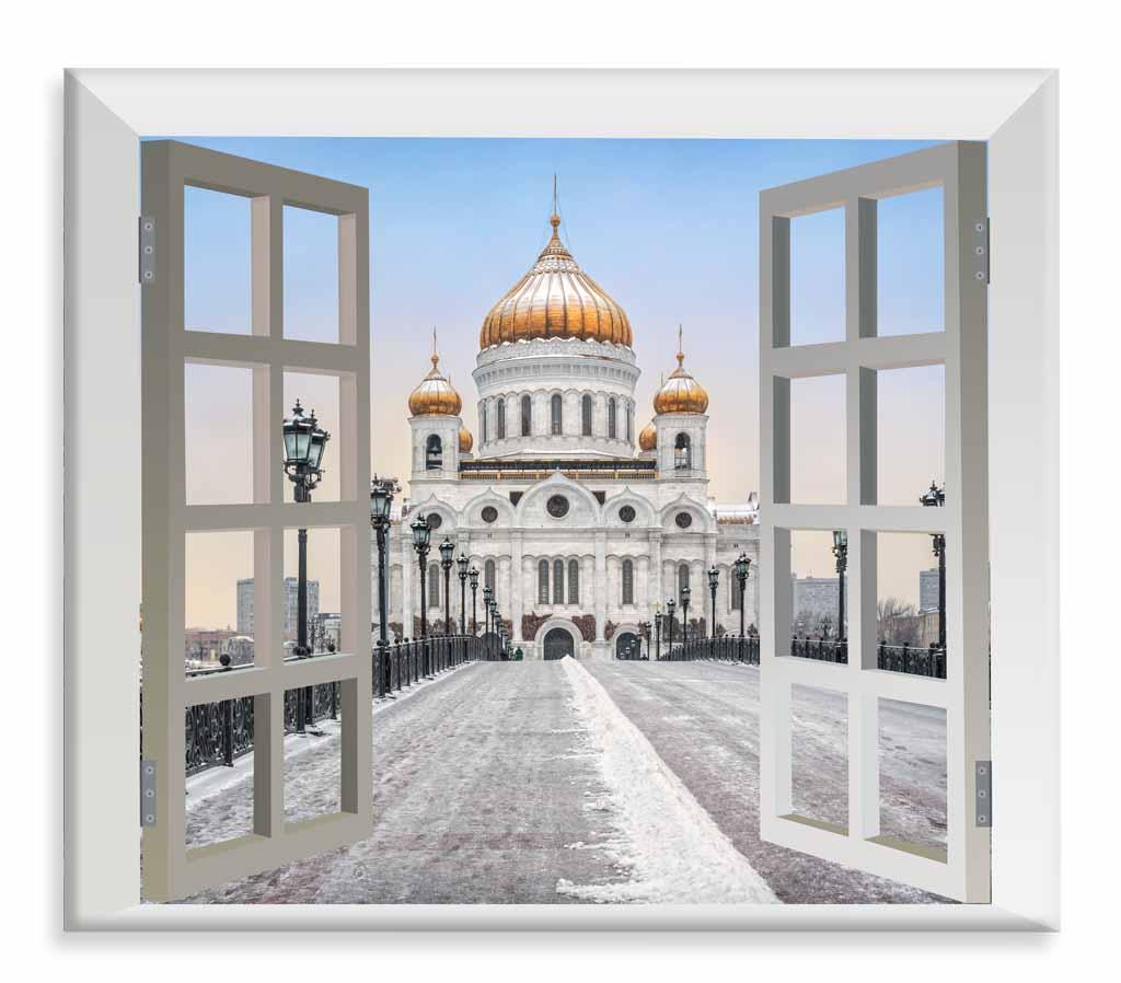 3D obraz Moskva za oknem, 120x110 cm