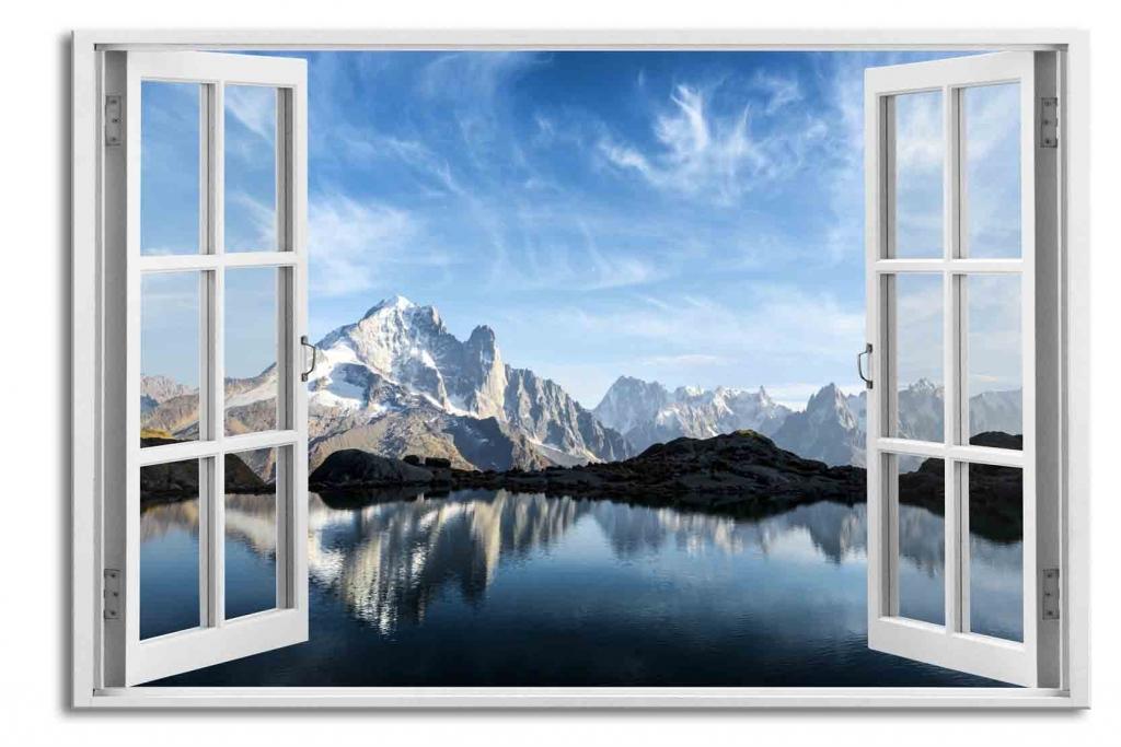 3D obraz Okno francouzské Alpy, 90x60 cm