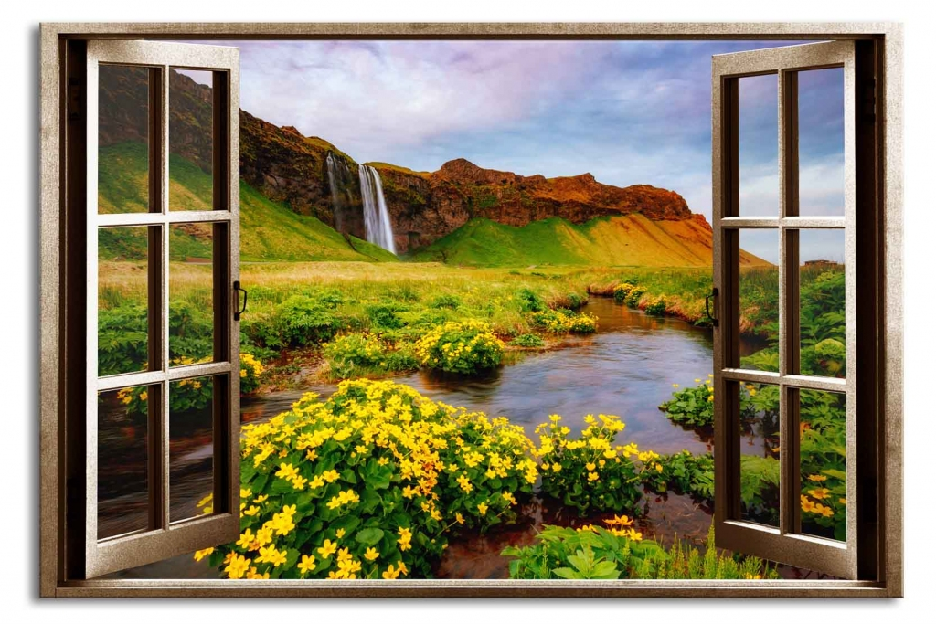 3D obraz Okno islandský vodopád, 60x40 cm