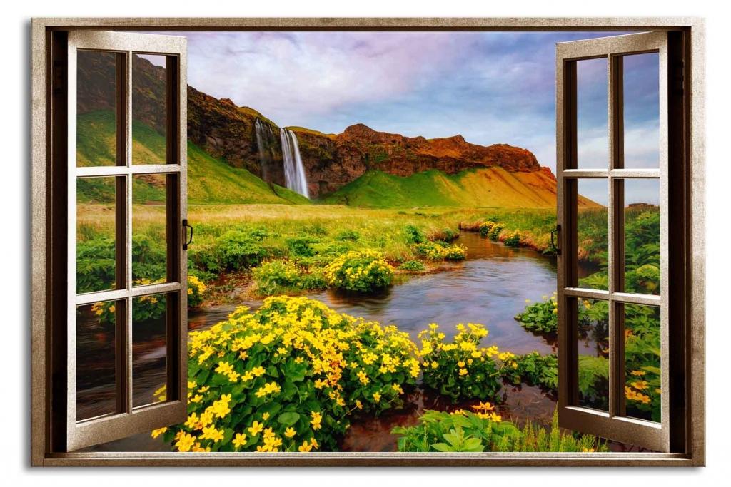 3D obraz Okno islandský vodopád, 90x60 cm