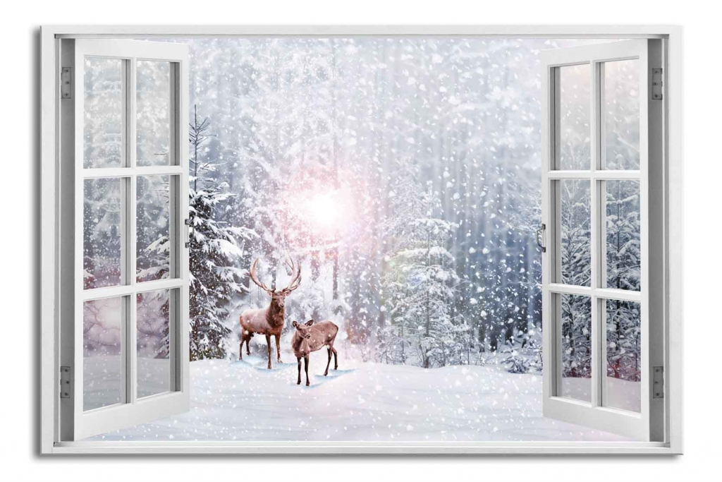 3D obraz Okno jeleni v zimě, 120x80 cm