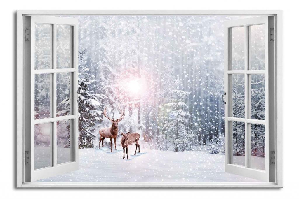 3D obraz Okno jeleni v zimě, 90x60 cm