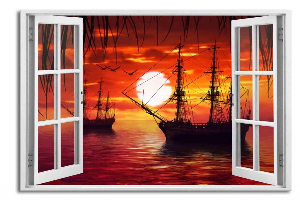 3D obraz Okno lodě na moři, 90x60 cm