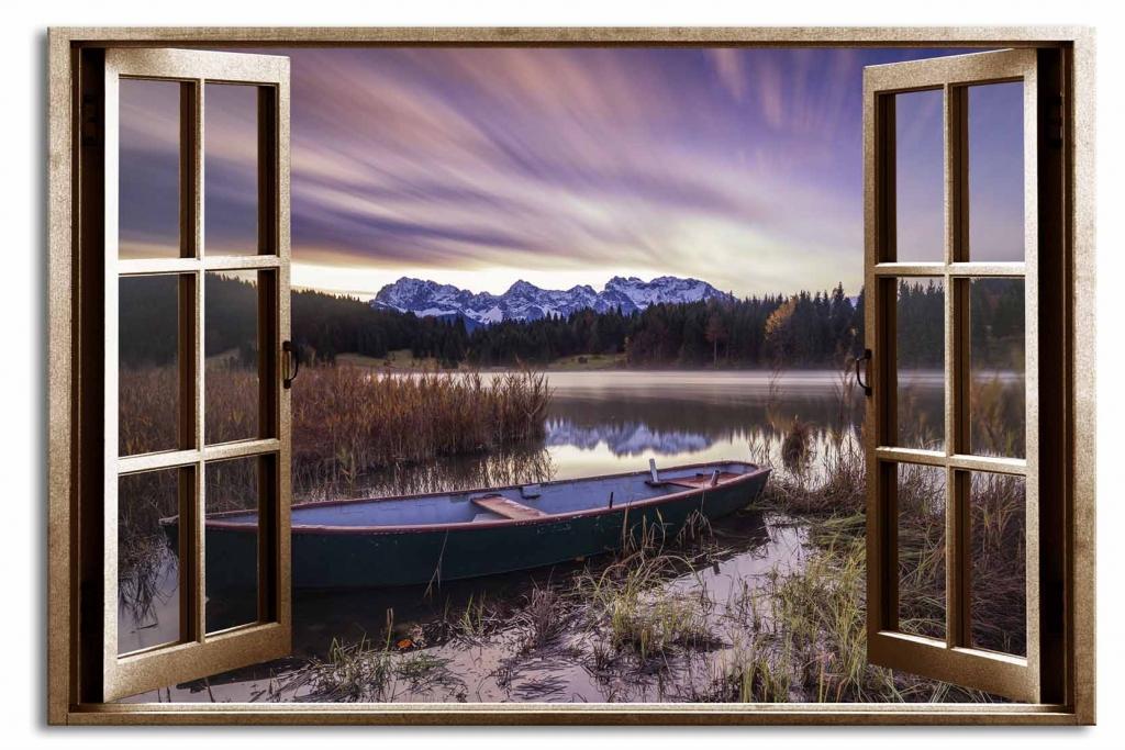 3D obraz Okno opuštěná loď, 90x60 cm