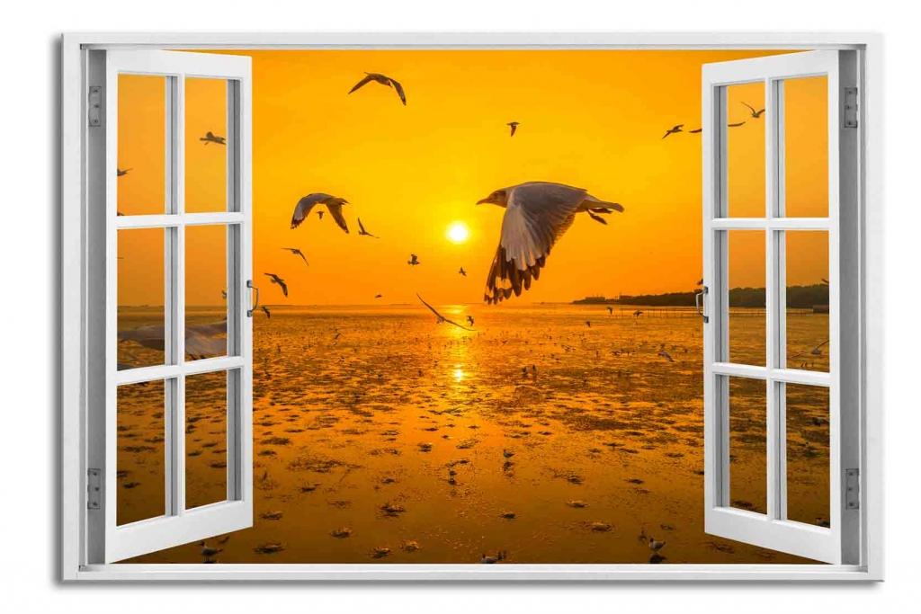 3D obraz Okno oranžový východ slunce, 90x60 cm