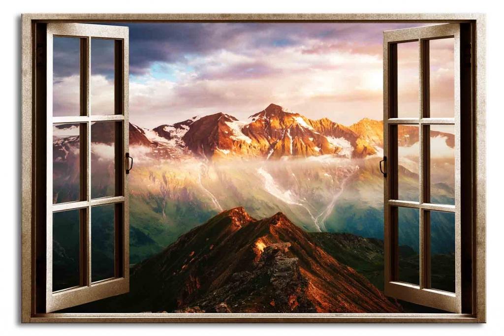 3D obraz Okno rakouské Alpy, 90x60 cm
