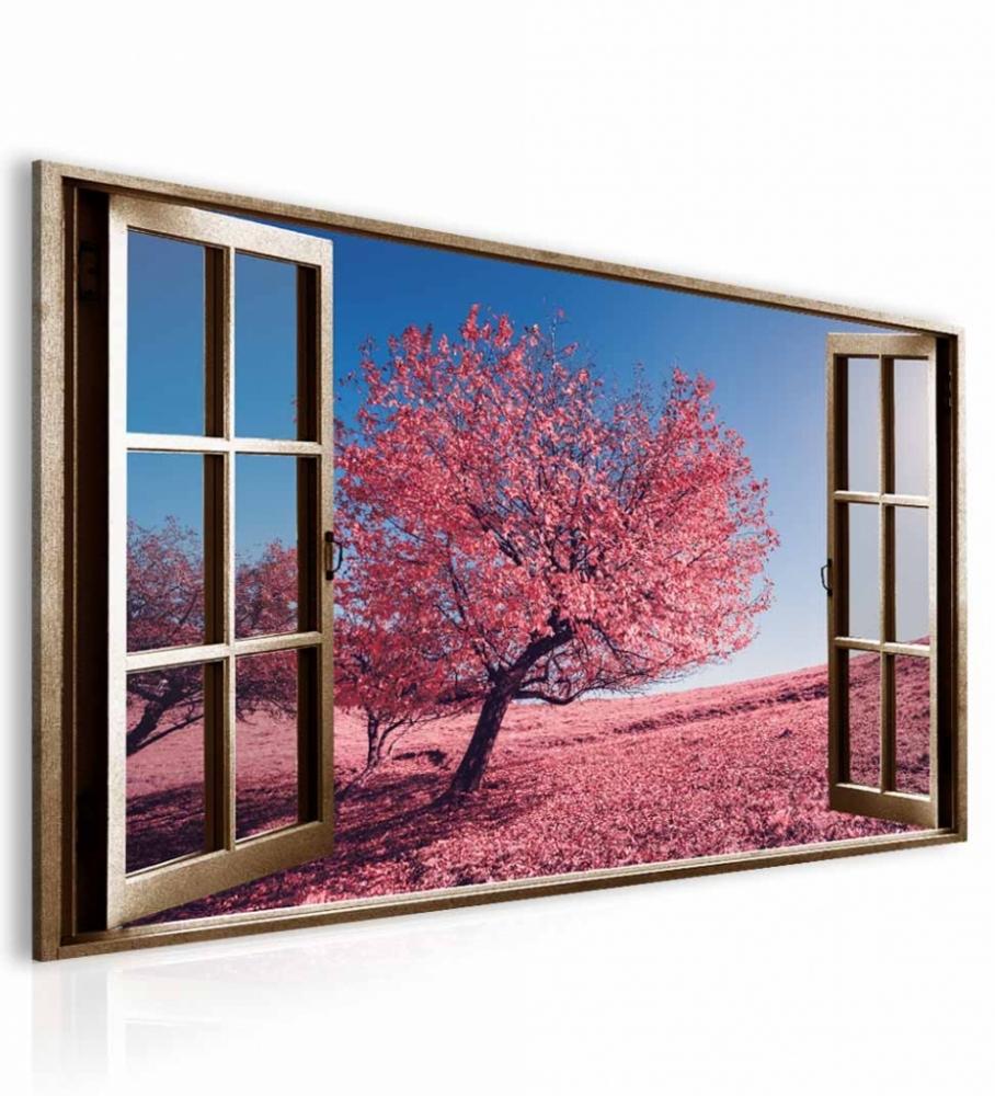 3D obraz Okno růžový strom, 120x80 cm