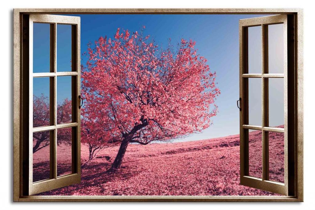 3D obraz Okno růžový strom, 90x60 cm