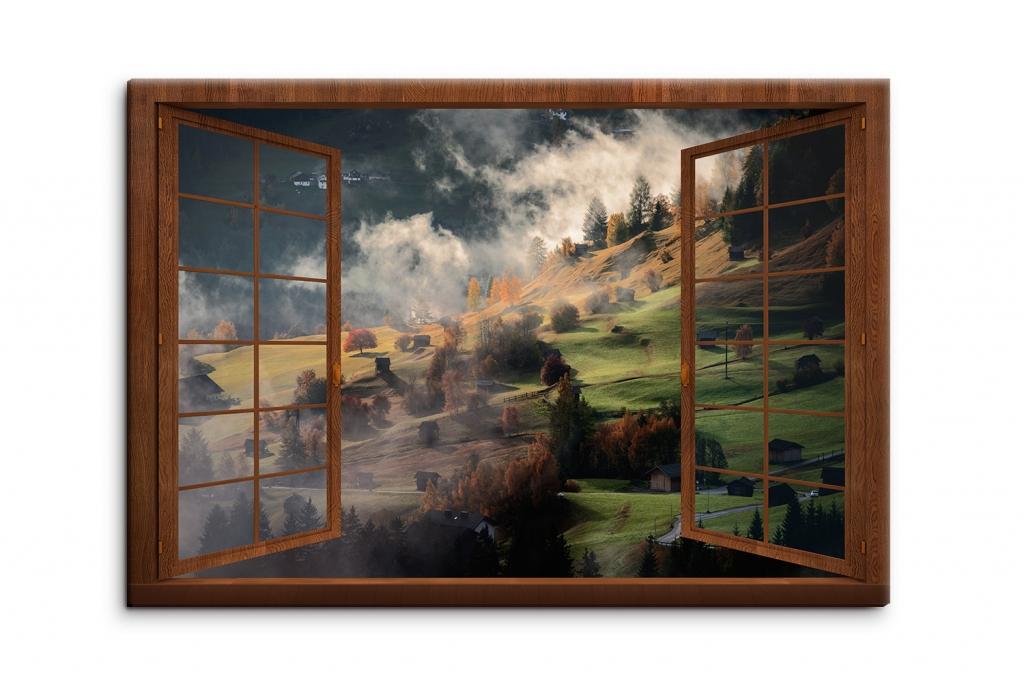3D obraz Okno s výhledem do ráje hor, 150x100 cm