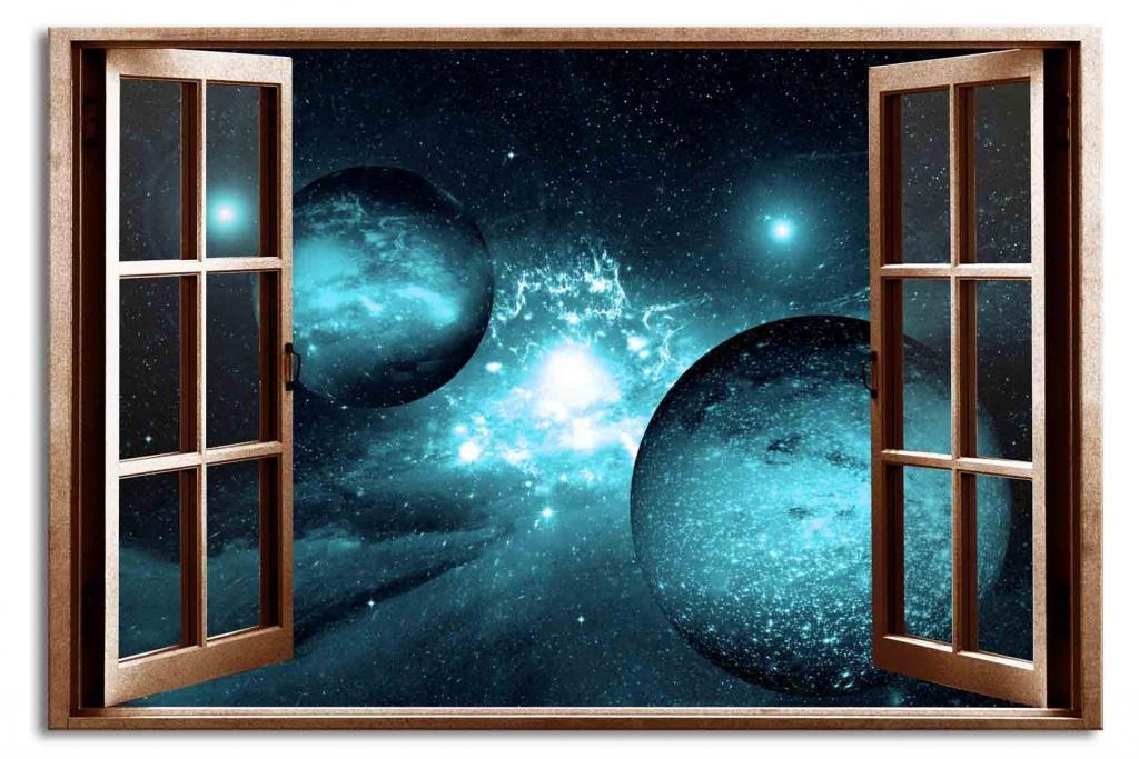 3D obraz Okno safírová galaxie, 120x80 cm