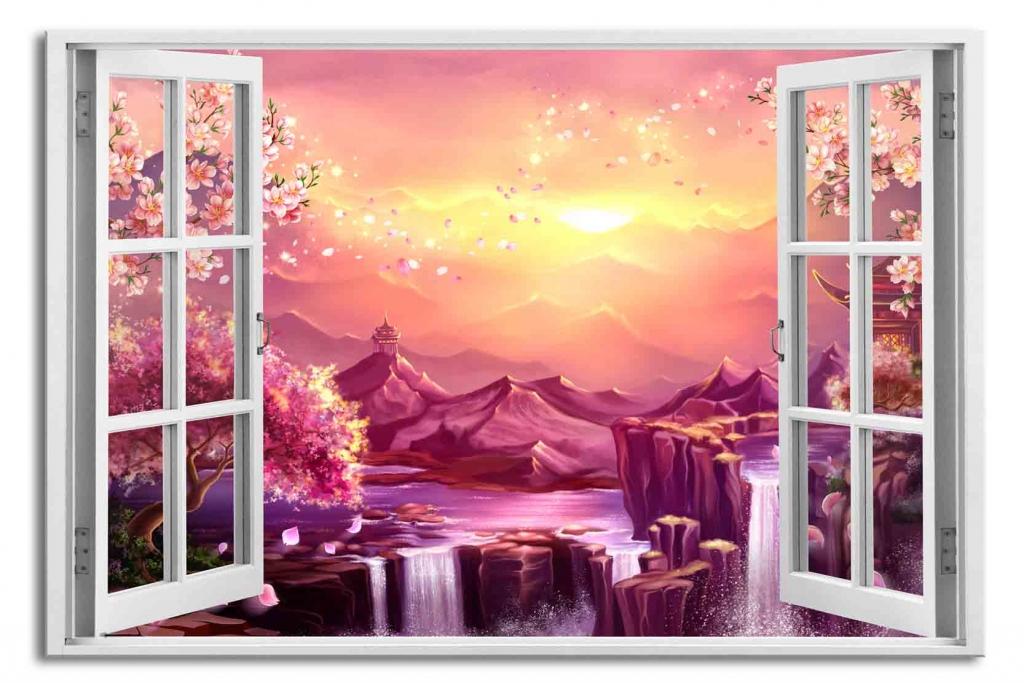 3D obraz Okno sakury, 90x60 cm