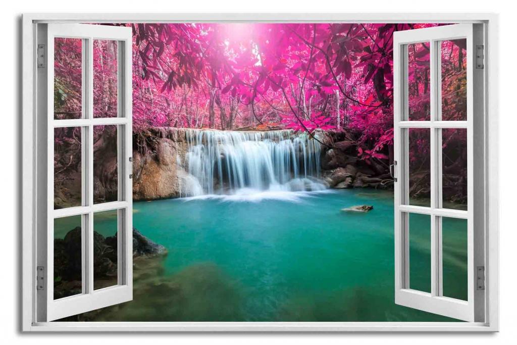 3D obraz Okno vodopád v Thajsku, 90x60 cm