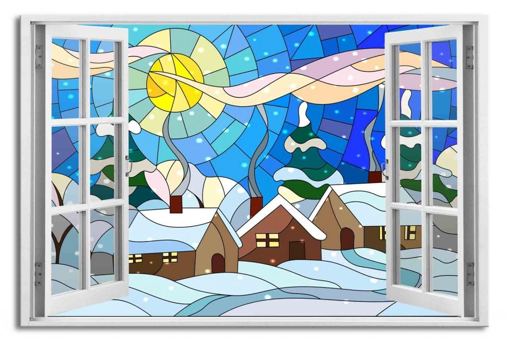 3D obraz Okno zimní vitráž, 90x60 cm