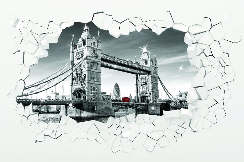 3D obrazy na stěnu Tower Bridge, 100x100 cm