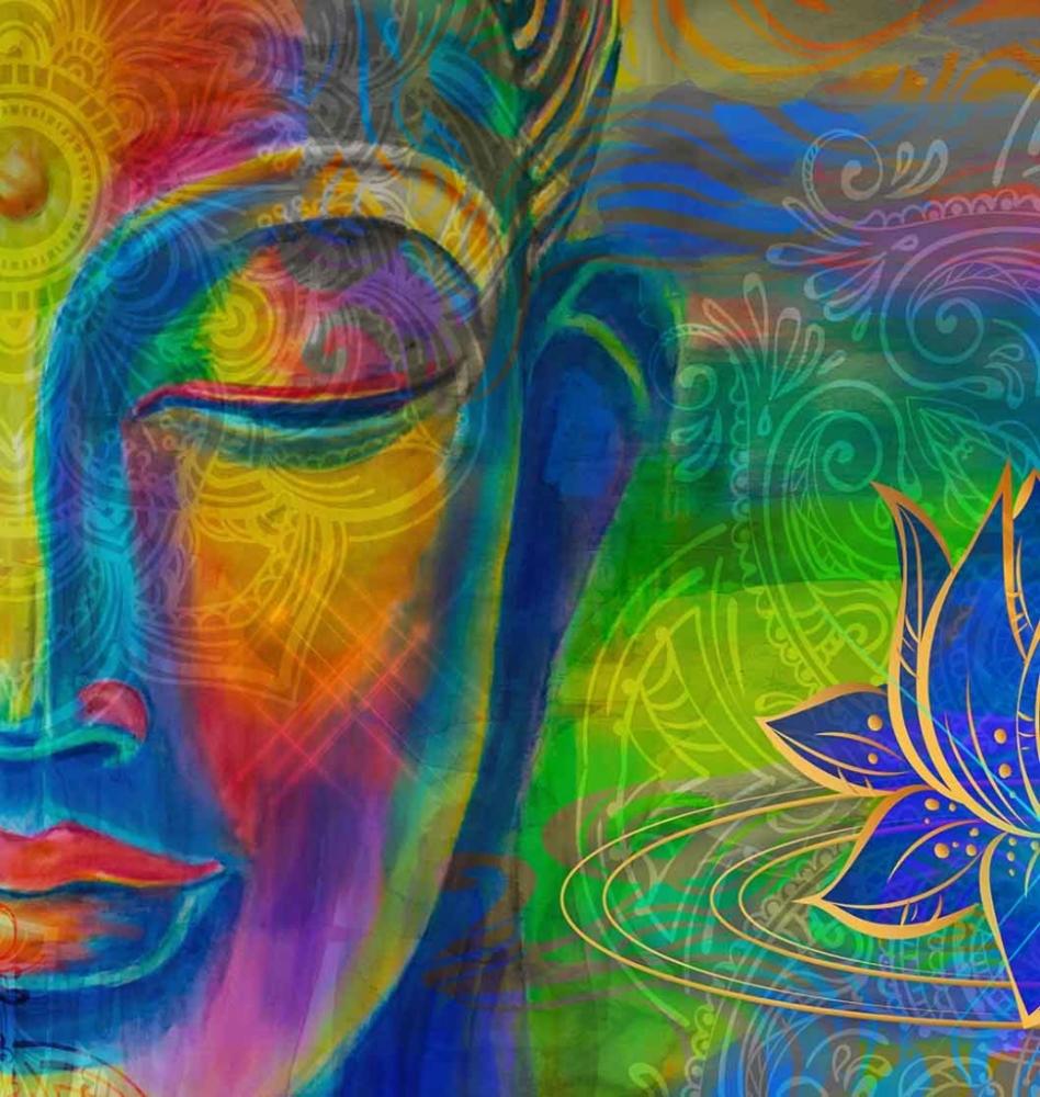 Abstraktní obraz Barevný Buddha, 60x60 cm