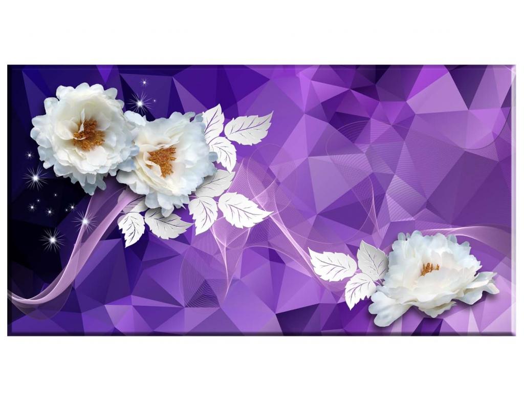 Abstraktní obraz Bílé květy, 150x80 cm