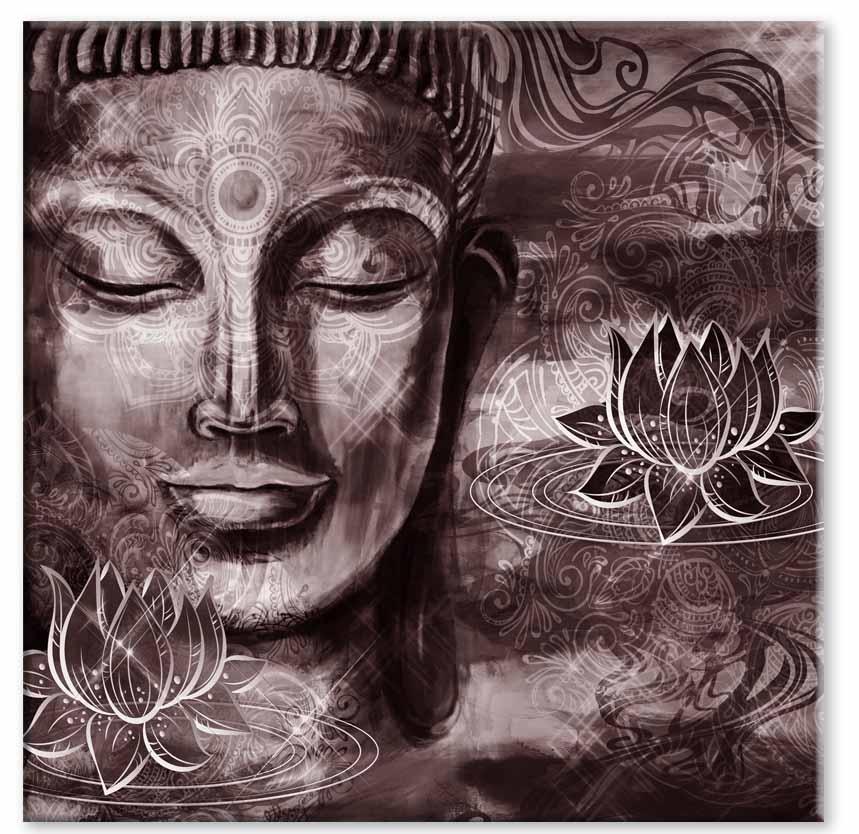 Abstraktní obraz Červenohnědý Buddha, 100x100 cm