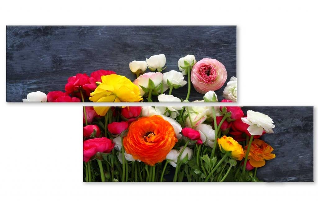 Atypický obraz Kytice květin, 100x50 cm