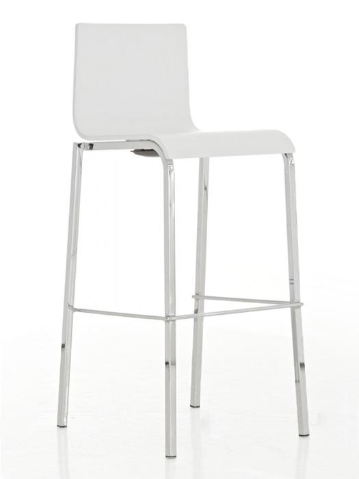 Barová židle Avion s chromovanou podnoží (SET 2 ks) bílá