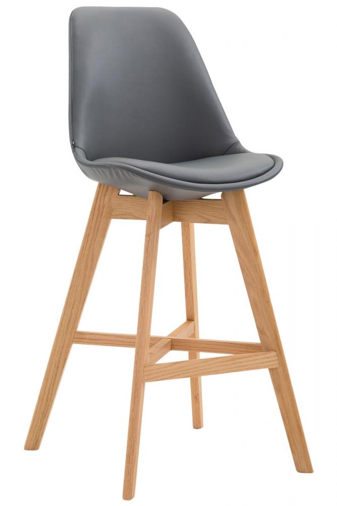 Barová židle Cane, syntetická kůže, šedá