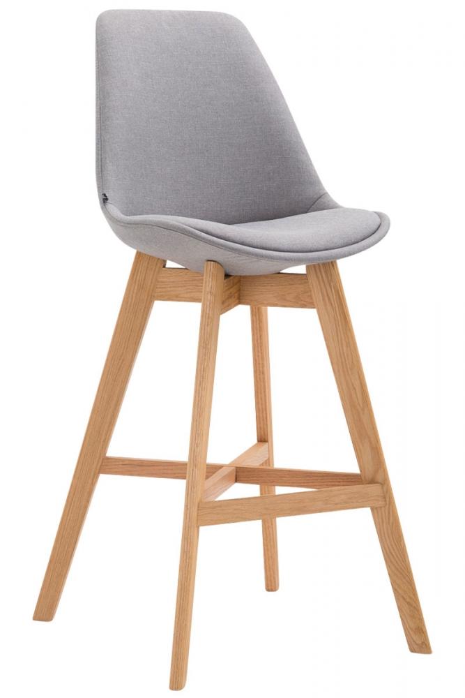 Barová židle Cane, textilní látka, šedá