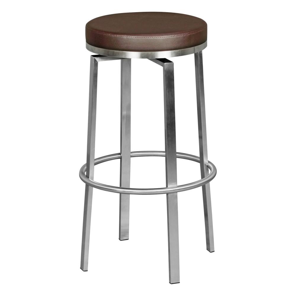 Barová židle Egon, hnědá / nerez
