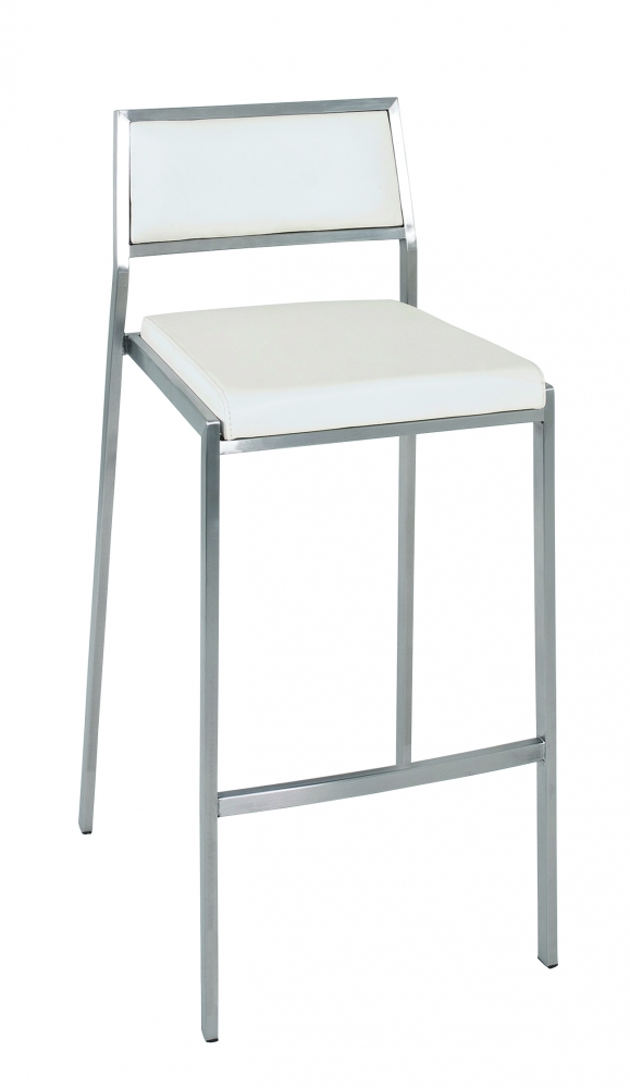 Barová židle Jordyn, 100 cm, nerez / bílá
