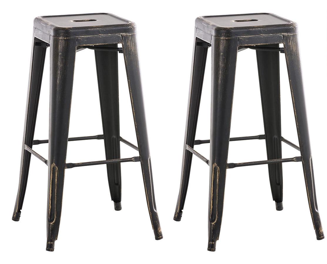 Barová židle Josh (SET 2 ks), černá / zlatá