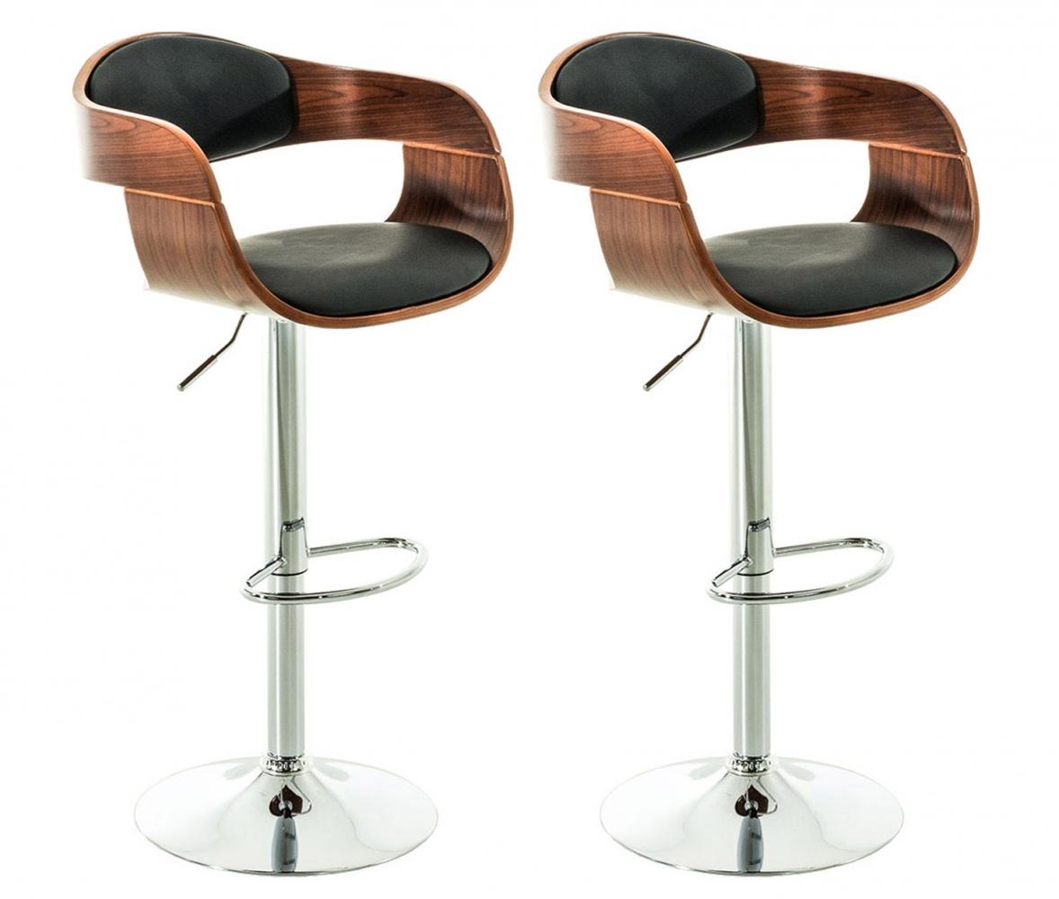 Barová židle King (SET 2 ks), černá / ořech