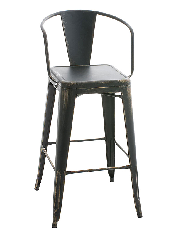 Barová židle kovová Mason L, antik černá