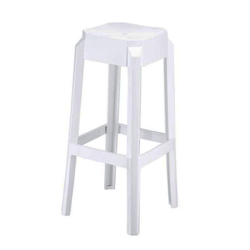 Barová židle Logre, lesklá bílá