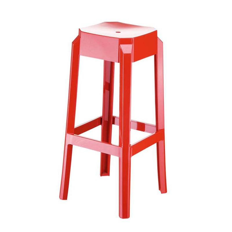 Barová židle Logre, lesklá červená