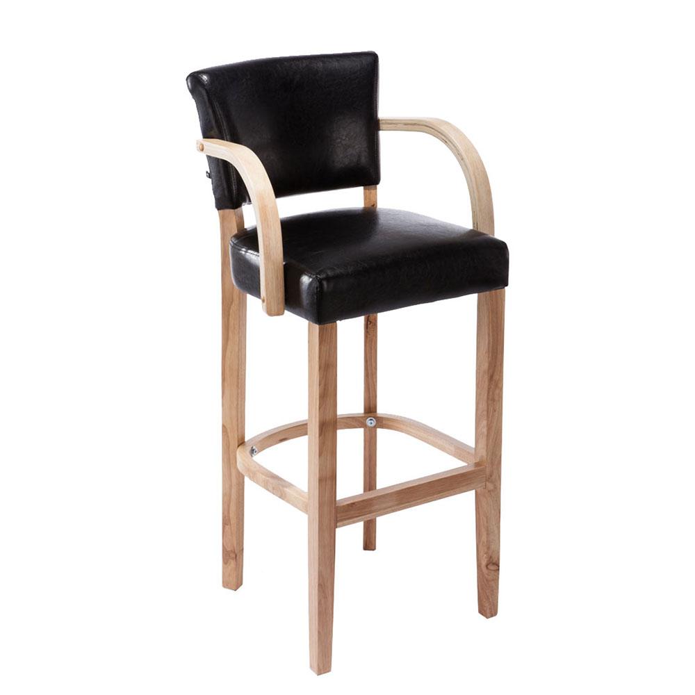 Barová židle s dřevěnou podnoží a područkami Ellen