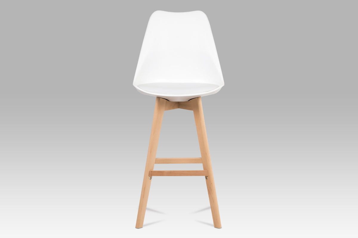 Barová židle s dřevěnou podnoží Alexis, bílá