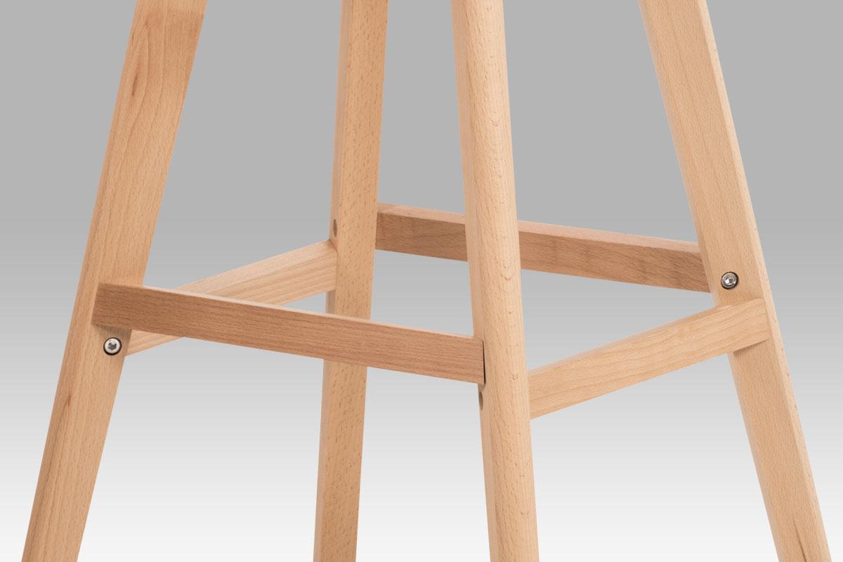 Barová židle s dřevěnou podnoží Alexis, cappuccino