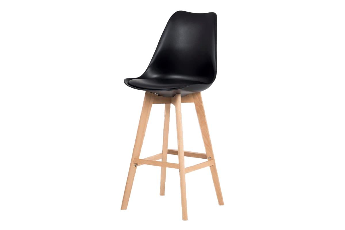 Barová židle s dřevěnou podnoží Alexis, černá