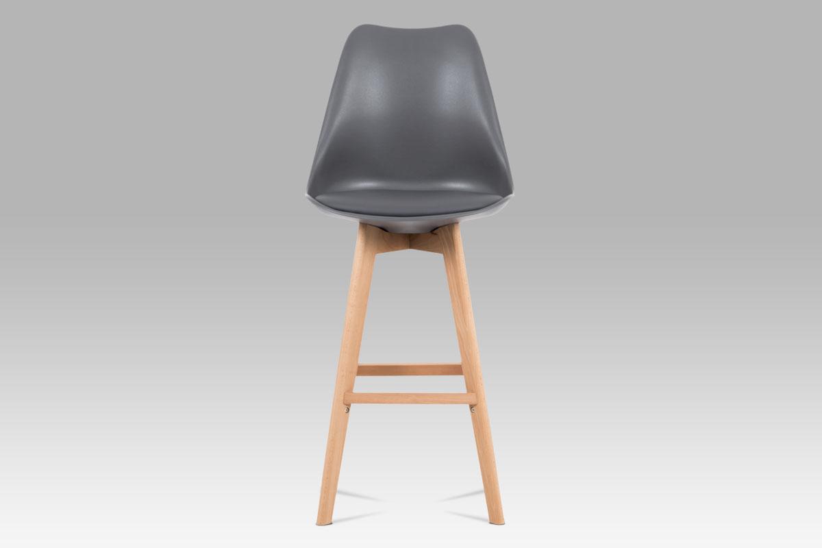 Barová židle s dřevěnou podnoží Alexis, šedá