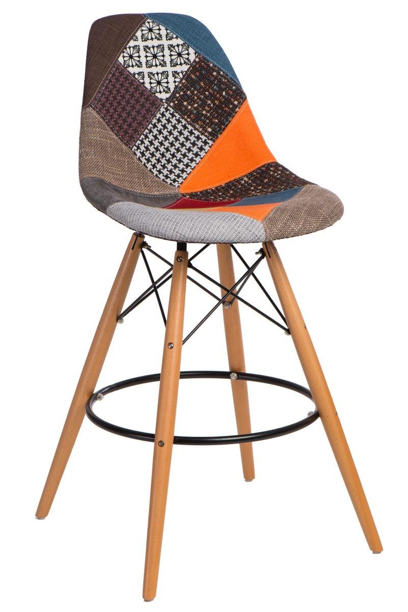 Barová židle s dřevěnou podnoží Desire patchwork, barevná
