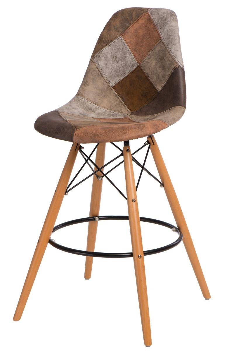 Barová židle s dřevěnou podnoží Desire patchwork, hnědá