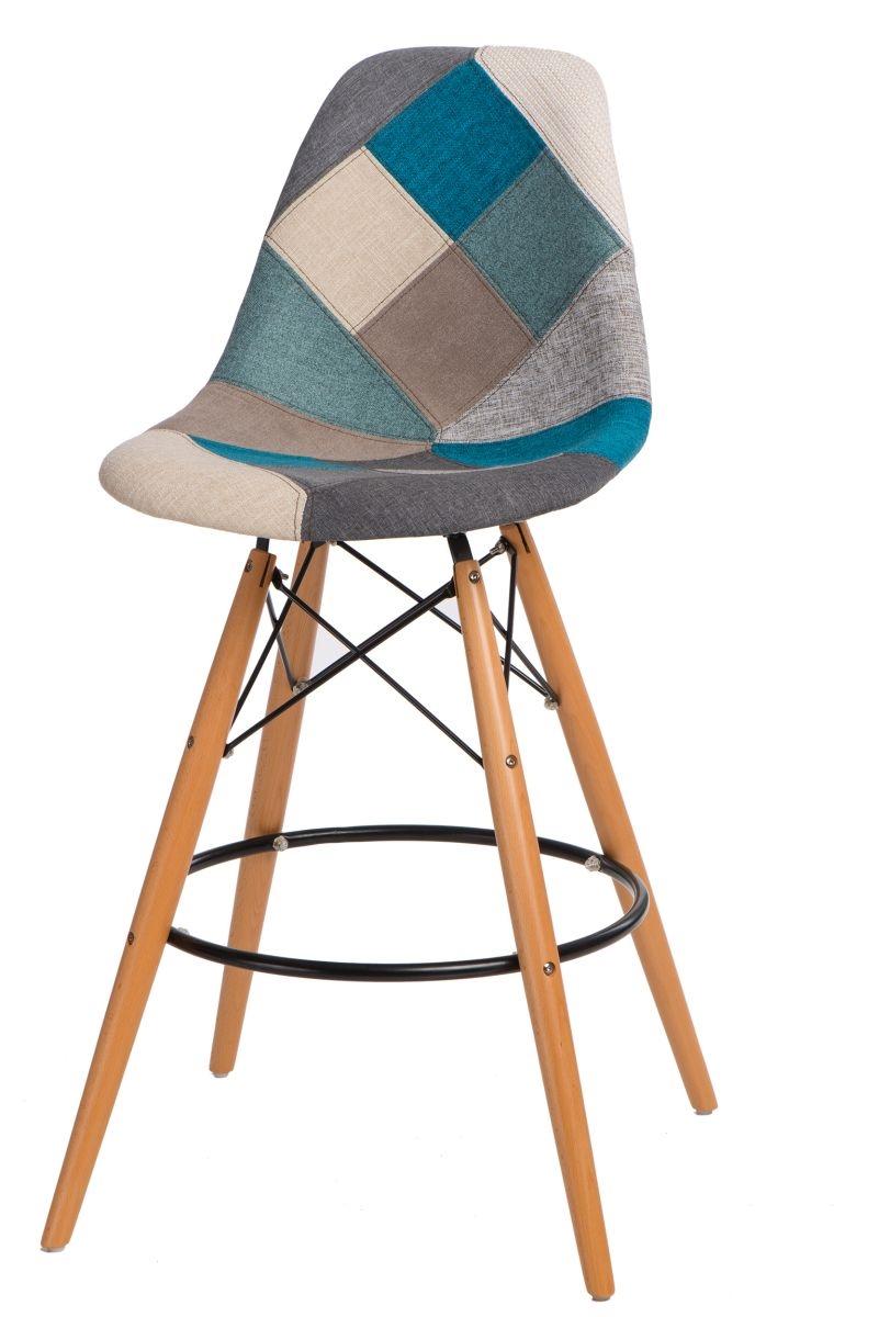 Barová židle s dřevěnou podnoží Desire patchwork, modrá