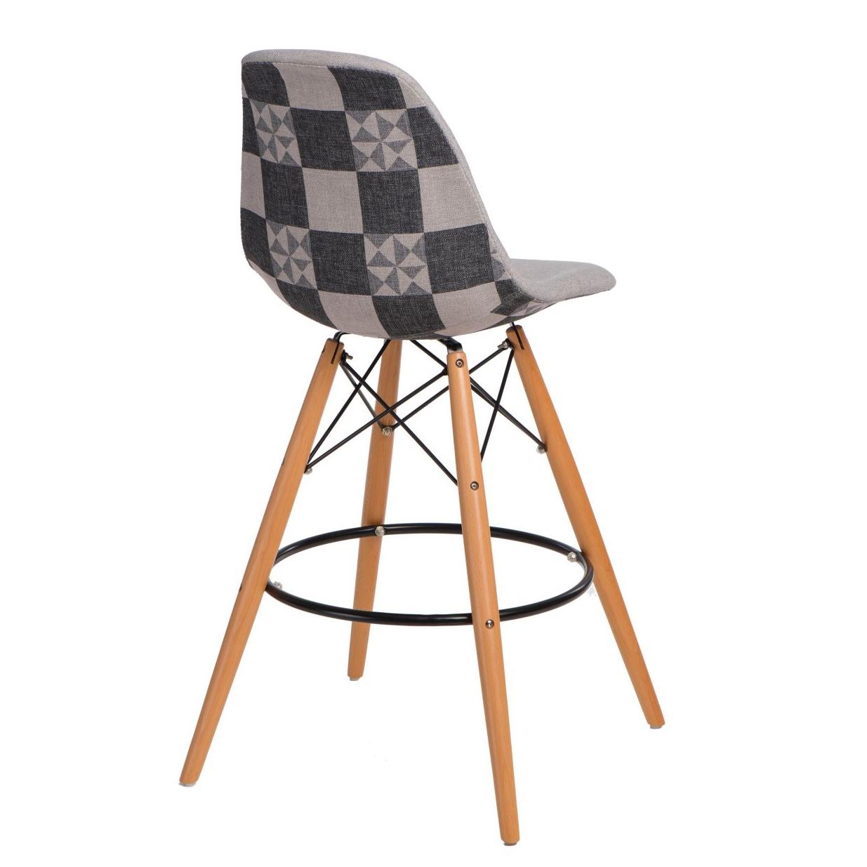 Barová židle s dřevěnou podnoží Desire patchwork