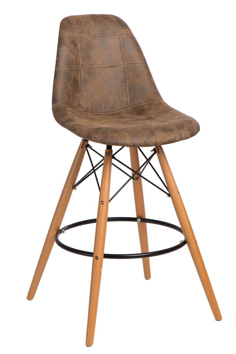 Barová židle s dřevěnou podnoží Desire prošívaná