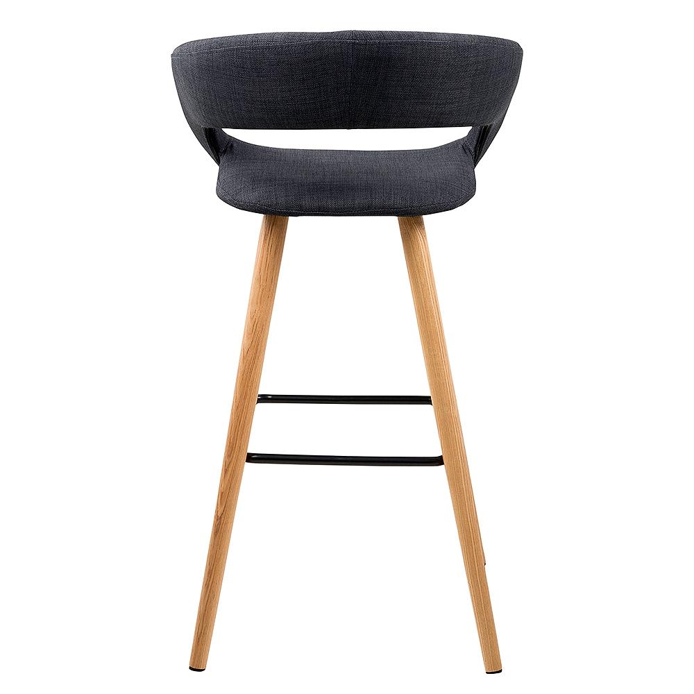 Barová židle s dřevěnou podnoží Garry (SET 2 ks), tm. šedá