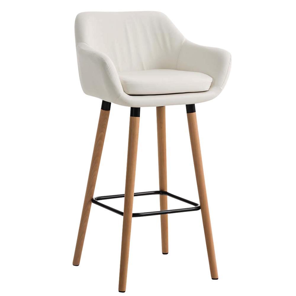 Barová židle s dřevěnou podnoží Marina kůže bílá