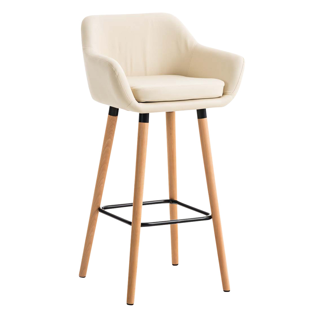 Barová židle s dřevěnou podnoží Marina kůže oranžová