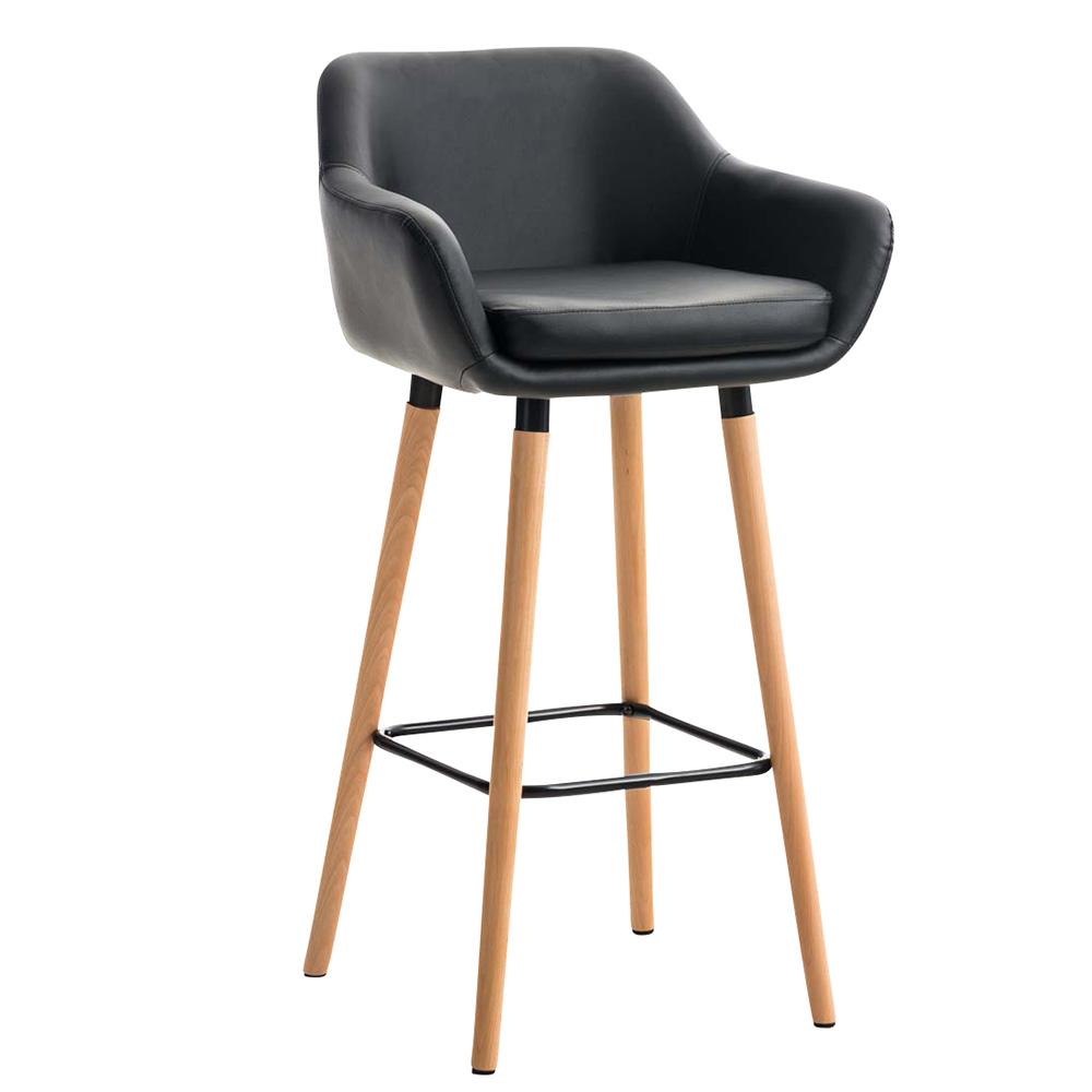 Barová židle s dřevěnou podnoží Marina kůže černá