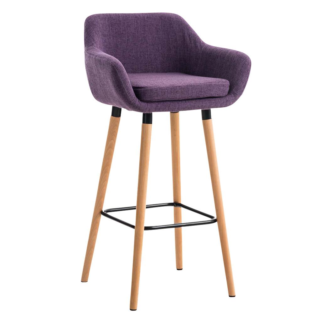 Barová židle s dřevěnou podnoží Marina textil krémová