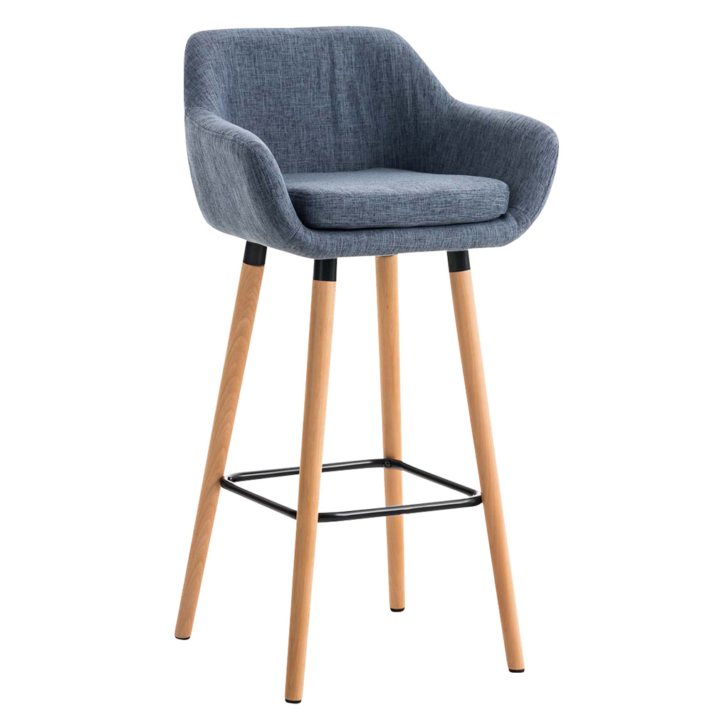 Barová židle s dřevěnou podnoží Marina textil hnědá