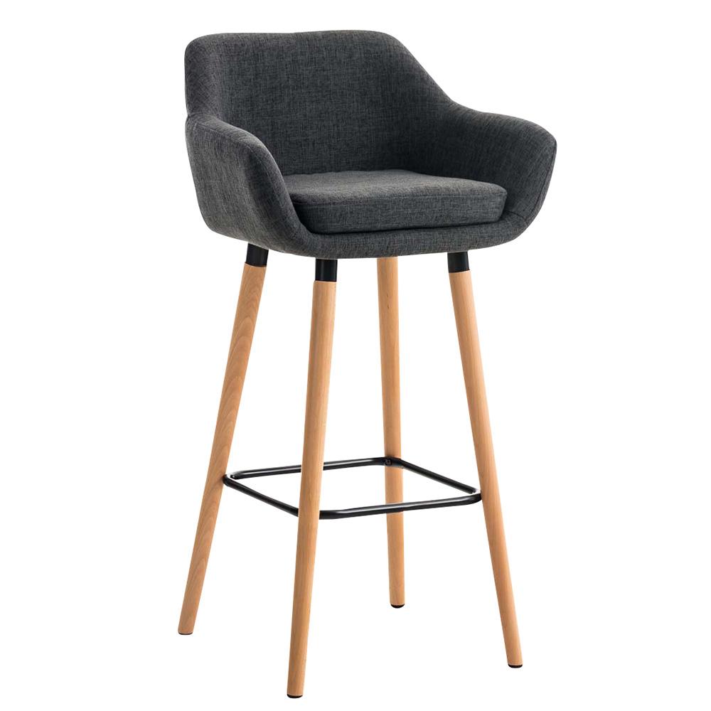 Barová židle s dřevěnou podnoží Marina textil černá