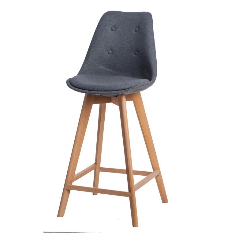 Barová židle s dřevěnou podnoží Norby čalouněná, šedá